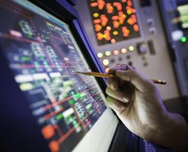 Oil refinery control room screen