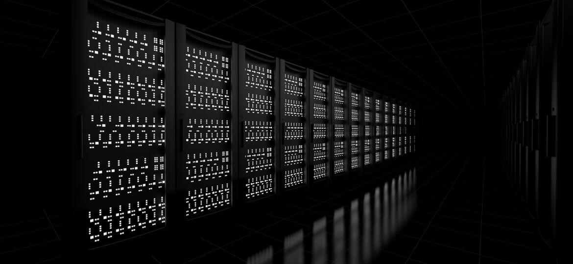 Network workstation servers on dark background